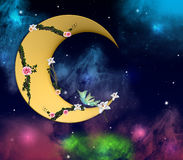 Romantic crescent moon. With roses, orchids and a wonderful sky Royalty Free Stock Photos