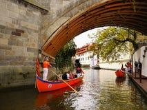 Romantic Cruise, Touristic Attraction,  Prague. Prazske Benatky - Venetian gondola romantic cruise on Vltava river canal in Prague. Touristic attraction Stock Photo