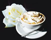 Romantic cup of coffee and rose Stock Image