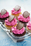 Romantic cupcakes with pink frosting Royalty Free Stock Image