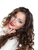 Romantic Curly Brunette Girl in White Warm Sweater - Elation Royalty Free Stock Image