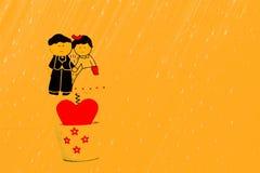 Romantic cute couple design Stock Photos