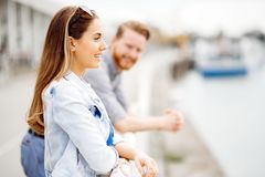 Cute couple enjoying time spent together outdoors royalty free stock photo