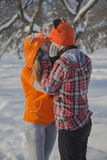 Romantic cute couple in the winter. Royalty Free Stock Images