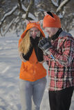 Romantic cute couple in the winter. Royalty Free Stock Photos