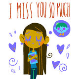 Romantic cute I miss you so much postcard. Vector Greeting card for Valentines Day, wedding, games. With cute teen girl and hearts. With love royalty free illustration