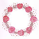 Romantic and cute watercolor, handmade red wreath with romantic roses vector illustration