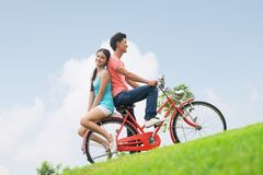 Romantic cyclists Stock Photo