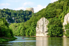 Romantic Danube gorge. Hall Liberty in Kelheim, Bavaria, Germany. Danube river gorge called Danube Aperture Stock Image