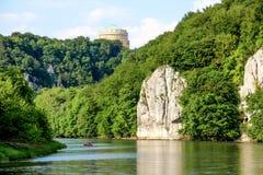 Romantic Danube gorge. Hall Liberty in Kelheim, Bavaria, Germany. Danube river gorge called Danube Aperture stock image