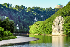Romantic Danube gorge. Hall Liberty in Kelheim, Bavaria, Germany. Danube river gorge called Danube Aperture, canoeing Stock Images