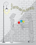 Romantic date. Romantic meeting of two lovers against a brick wall vector illustration