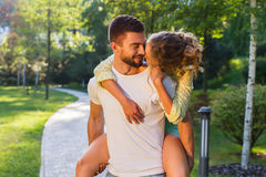 Romantic date in a beautiful park. Stock Photo