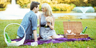 Romantic date on the blanket Stock Photo