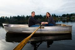 Romantic date in a boat Royalty Free Stock Images