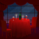 A romantic date in a cafe. A romantic dinner for two. A table with a red cloth. The stars outside the window. Vector Stock Photos