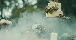 Romantic date composition in foggy wood. Tasty two-tiered cake with berries, bouquet of flowers and candles are stock video