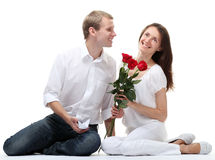 Romantic date: couple in love Royalty Free Stock Photography