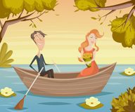 Romantic date. Couple in love girl and boy in boat. Funny cartoon characters Royalty Free Stock Photography