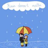 Romantic date. Cute illustration of a couple under umbrella. Romantic date. Rain Royalty Free Stock Photo