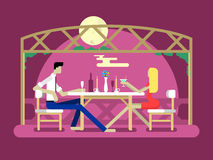 Romantic date design. Love couple, man and woman, relationship and moon, flat vector illustration Stock Photos