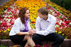 Romantic date in the flower park Royalty Free Stock Image