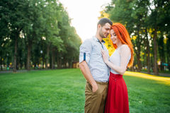 Romantic date, love couple hugs together Stock Photos