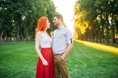 Romantic date, love couple hugs together Royalty Free Stock Images