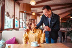 Romantic date of love couple in restaurant Stock Images