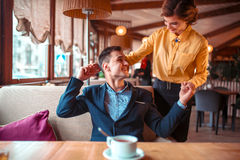 Romantic date of love couple in restaurant Royalty Free Stock Photography