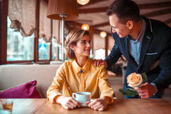 Romantic date of love couple in restaurant Royalty Free Stock Photos