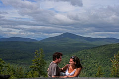 Romantic Date on a Mountain Stock Images