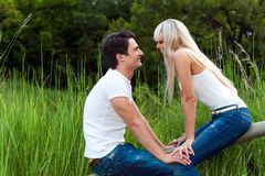 Romantic date in park. Royalty Free Stock Photography
