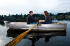 Romantic date on a rowboat Royalty Free Stock Photography