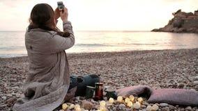 Romantic date on sea coast, beautiful sunset landscape. stock video footage