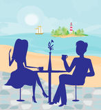 Romantic date on a tropical beach. Illustration Stock Photography