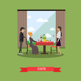 Romantic date vector illustration in flat style. Vector illustration of loving couple having dinner at restaurant. Romantic date flat style design element Royalty Free Stock Image