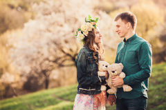 Romantic date of young couple in love stock photos