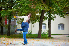 Romantic dating couple on a bright fall day Stock Photography