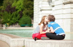 Romantic dating couple kissing Stock Photos