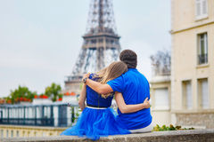 Romantic dating couple in Paris Stock Photos