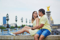 Romantic dating couple in Paris Royalty Free Stock Photo