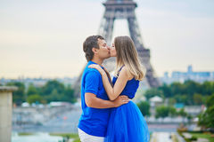 Romantic dating couple in Paris Royalty Free Stock Images