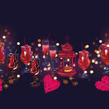Romantic dating horizontal seamless vector banner Royalty Free Stock Images