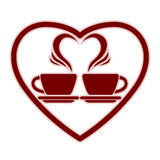 Romantic dating icon with two coffee cups. Romantic dating icon with two coffee cups and steam creates a heart, vector Royalty Free Stock Images