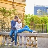 Romantic dating loving couple in Paris. Romantic dating loving couple spending time together in Paris Stock Image