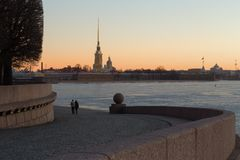 Romantic dawn in St. Petersburg Royalty Free Stock Photos