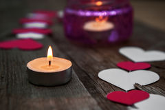 Romantic decor with candel for Valentyne Day. Royalty Free Stock Image