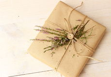Romantic decor for gift box wrapping Royalty Free Stock Photography