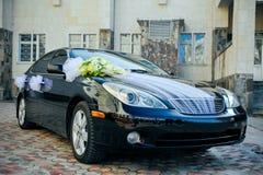 Romantic Decoration Flower on Wedding Car in Black Royalty Free Stock Photo